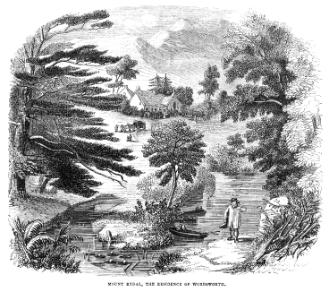 A Victorian illustraion of Mount Rydal, Wordsworth's home.