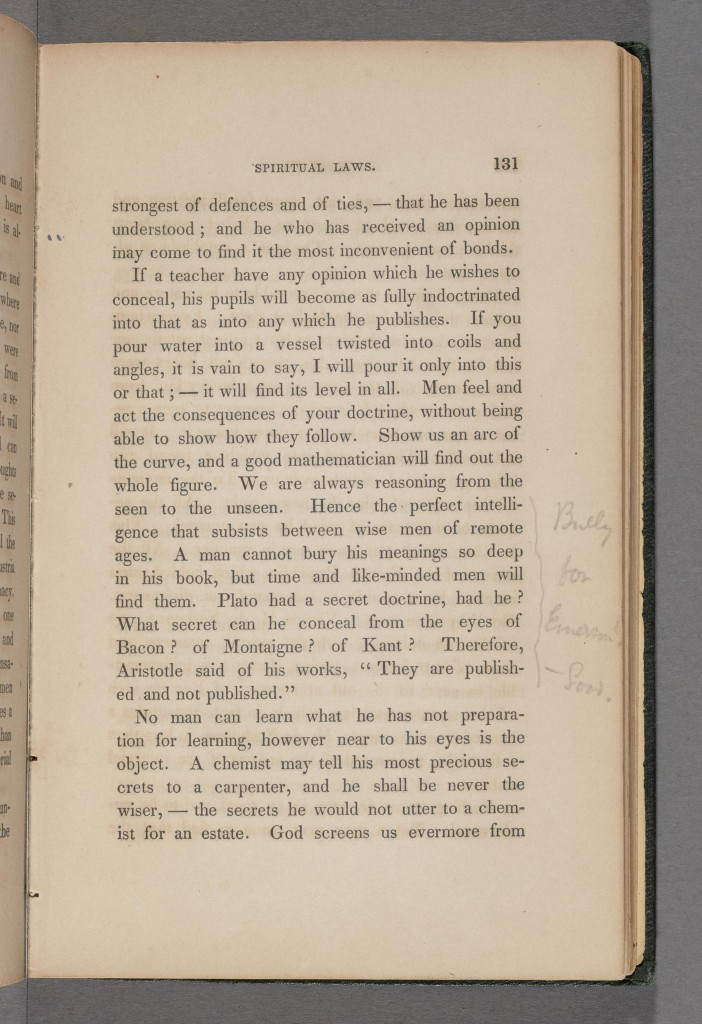 Melville's annotation in Emerson's Essay
