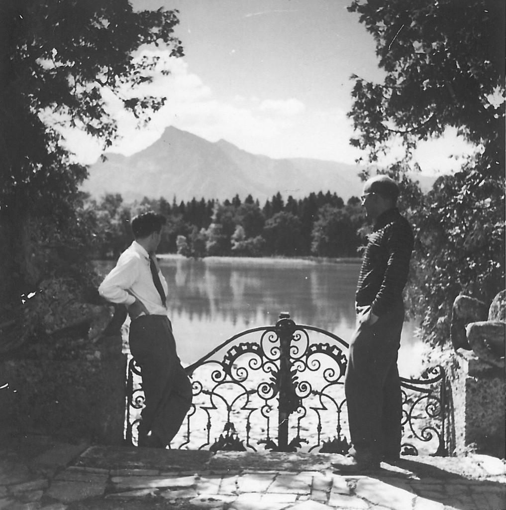 Literary scholar F. O. Matthiessen (right) and a Fellow at Salzburg Seminar in American Studies (1947).