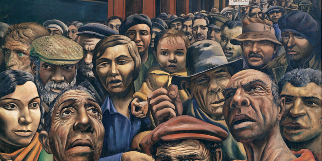 Antonio Berni | Manifestación (Public Demonstration), 1934, tempera on burlap, approx. 6 x 10 feet, MALBA, Buenos Aires.